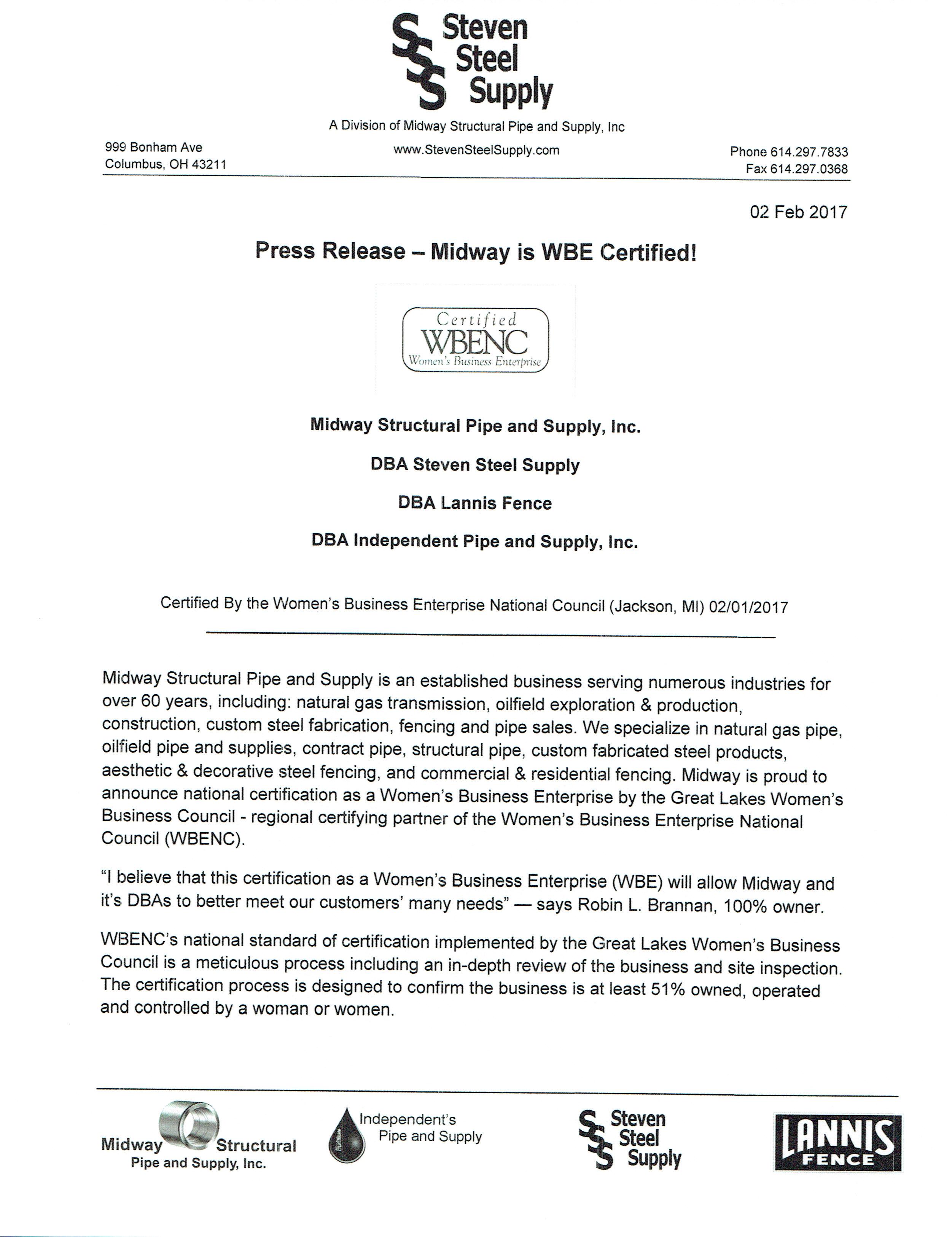 Steven Steel Wbe Certification News Item Details Steven Steel
